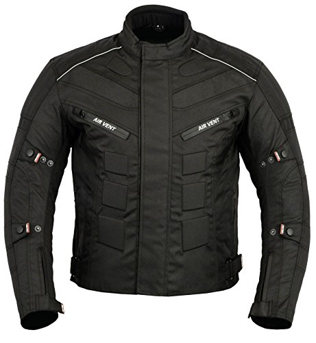 JKT-007 | Waterproof Motorbike Motorcycle Jacket in Cordura Fabric and CE Approved Armour – 6 Packs Design Most Popular (Black & Full Black, X-Large)