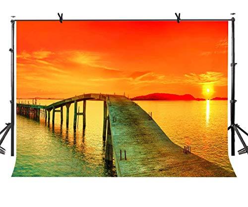 GzHQ 7x5ft Holzbrücke Kulisse Sonnenuntergang Strand Küstenlandschaft Photogrphy Hintergrund für Themed Party Foto Shooting Requisiten LYZY0191