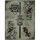 Tatuaje Libro Manuscrito De Referencia 86 Páginas Cráneos Pájaros Figura Flor Insecto