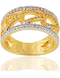 Devanjali Trendy Stylish Designer Gold Plated American Diamonds Band Ring For Women Girls (IR-0131)