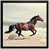 PPD running horse vastu Framed Wall Art Paintings for Living room and Bedroom. Frame size (12 inch x 12 inch, (Wood, 30 cm x 3 cm x 30 cm, Special Effect Textured)