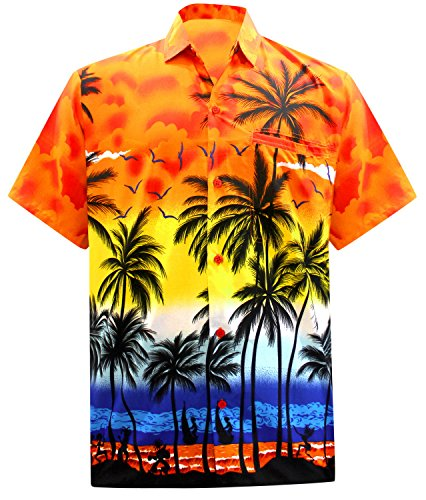 La Leela surfeurs hawaïen bouton miami plage bas chemise avec des poches de 3XL d'orange