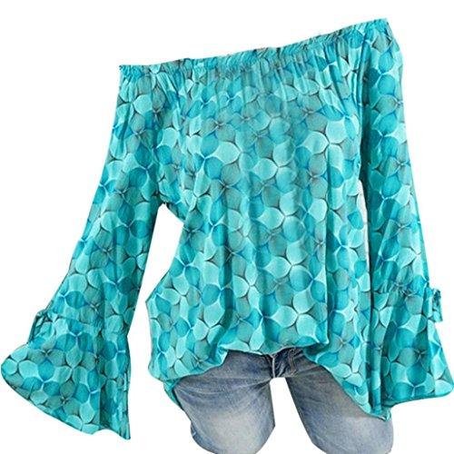 Daoroka Damen Langarmbluse mit langen Ärmeln, Übergröße, schulterfrei, florales Muster, Schrägkragen, lässige Tunika, Tops, modischer Herbst-Komfort, T-Shirts 4XL grün -