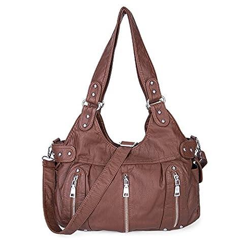 Shoulder Bag Purse Soft Large Capacity Cross Body Handbag Washed PU Leather for Women Girls-Marron