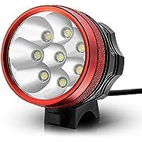 Kingtop 12000 Lumen 8x CREE XM-L T6 LED Testa Luce Faro per Bici Bicicletta Ciclismo MTB Moto con Ricaricabile Batteria -Rosso