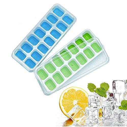 Newsyn Eiswürfelform,Silikon Eiswuerfel Form Eiswuerfelbehaelter mit Deckel,28-Fach DIY Silikon-Eiswürfelform,LFGB Zertifiziert,Gesundheit Kunststoff,Kühl Aufbewahren,2-Stück(Blau und Grün)