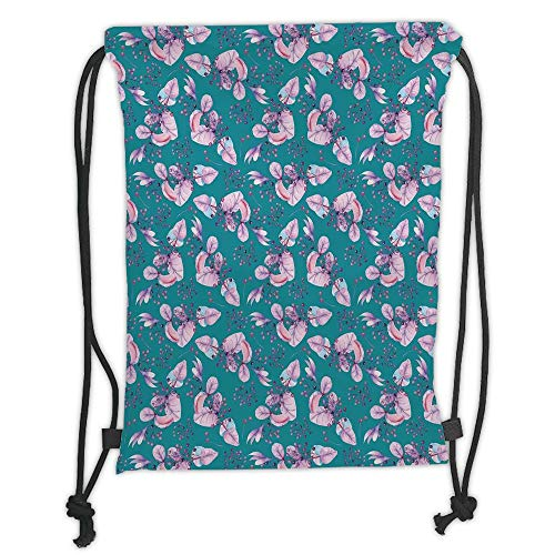 Fashion Printed Drawstring Backpacks Bags,Turquoise,Floral Pattern with Bunch of Grapes Flowers and Berries on the Branch Boho Print,Teal Purple Soft Satin,5 Liter Capacity,Adjustable String Closu (Party Teal Und Purple)