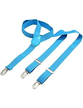 Bretelle DonDon uomo 2,5 cm - 3 clips a y in pelle - elastiche con regolabili - disponibili in diversi modelli