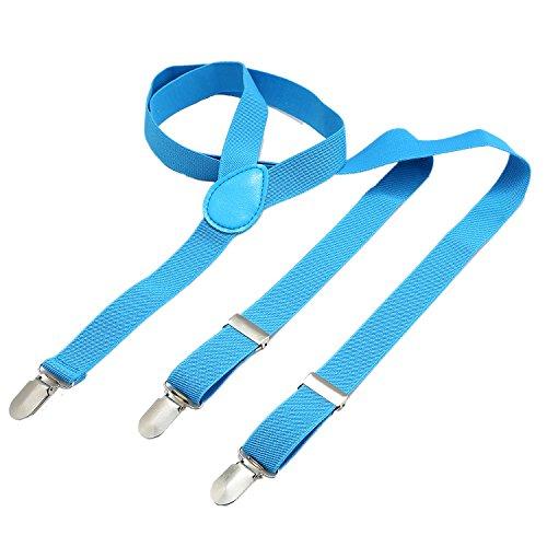 Dondon bretelle uomo sottili 2,5 cm - 3 clips a y - elastiche con regolabili - azzurre