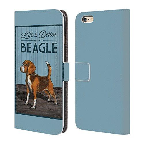 Offizielle Lantern Press Labrador Hund Kollektion Brieftasche Handyhülle aus Leder für Apple iPhone 4 / 4S Beagle