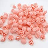 #9: iDream 3.5cm Artificial Rose Flowers For Wedding Bride Bouquet Decoration - Pack of 50 (Peach)