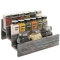Rustic Style 3 Tier Stair Step Design Distressed Wood Spice Rack Jar Storage Organizer Shelf - MyGift