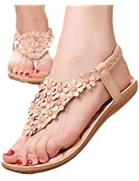 Indexp Women Bohemia Beads Sandals, Massage Insole Clip Toe Stretchy Back Counter Flat Flip-Flop