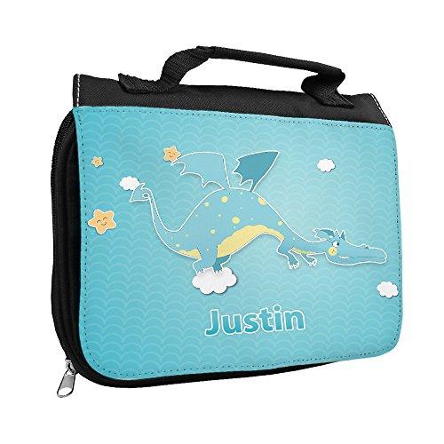 Kulturbeutel mit Namen Justin und schönem Motiv mit Drache für Jungen | Kulturtasche mit Vornamen | Waschtasche für Kinder