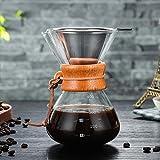 Per 400ml Cafeteras de Goteo Cristal Resiste Calor Jarra para Café con Filtro Acero Inoxidable Cafeteras de Manual (400mlA)