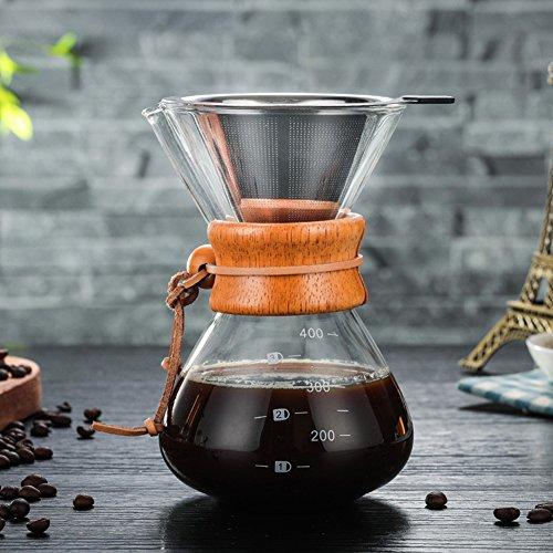 Per 400ml Cafeteras de Goteo Cristal Resiste Calor Jarra para Café con Filtro Acero Inoxidable Cafeteras...