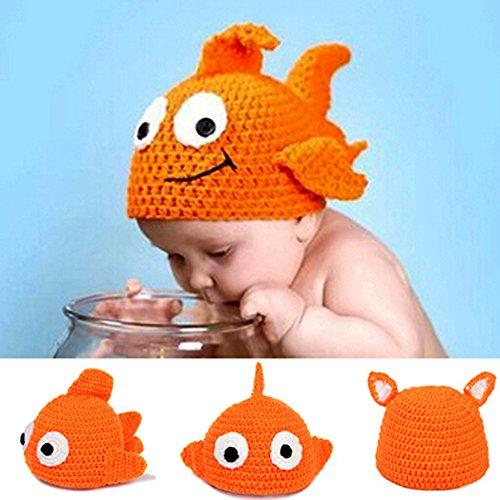 y Kleidung Crochet Knit Kostüm Foto Fotografie Prop Goldfish Hat ()