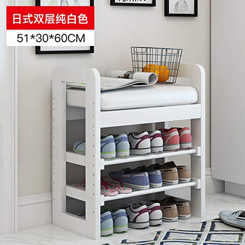 seeksungm Chair, Classical Solid Wood Multifunctional Shoe Bench, Wooden Environmentally Friendly and easy to clean Storage Shoe Chair, Home Shoe rack Sofa Bench, C 50 cm Pure White