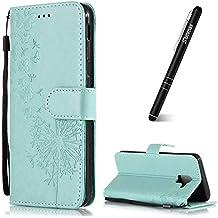 Slynmax - Funda de piel con tapa para Samsung Galaxy A6 Plus 2018, diseño de diente de león y lápiz capacitivo, verde