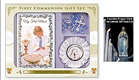 Boys Rosette with Communion Rosary Beads & Book First Holy Communion Gift Set (C5209) + LOURDES PRAYER