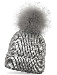 0b9a6ad281693 styleBREAKER cálido Gorro con pompón de Punto metálico con un pompón de Pelo  Artificial Amovible