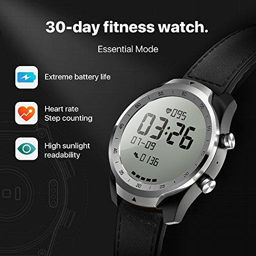 TicWatch Pro Bluetooth Smart Watch, Mehrschichtiges Display, Herzfrequenz und NFC-Zahlungen basierend auf Google Wear OS, kompatibel mit iPhone/Samsung/Huawei/LG und Anderen Android-Telefonen - 4