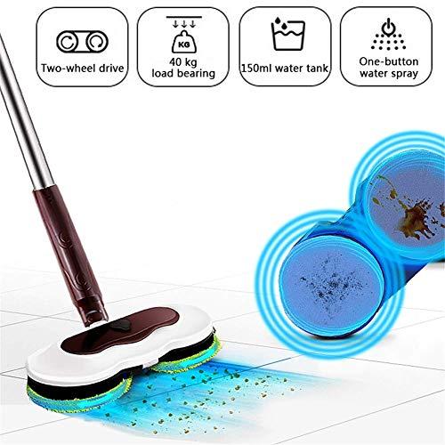 Mop elettrico con 2 cuscinetti di ricambio Scrubber per pulizia pavimenti a batteria con funzione di spruzzo d'acqua Pulizia a 180 ° senza angolo morto per la pulizia del pavimento piastrellato