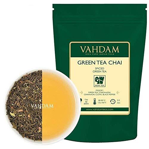 hai Tee Loses Blatt -100 Tassen, 200g - Natürliche grüne Teeblätter, Zimt, Kardamom, Nelken und schwarzer Pfeffer - Traditioneller grüner gewürzter Chai-Tee-Rezept ()