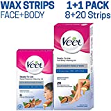 Veet Face and Body Waxing Kit for Sensitive Skin - 8 + 20 Strips