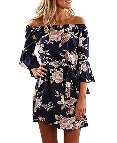 YOINS Damen Sommerkleider Lange Ärmel Schulterfrei Eelegant Sexy Blumenmuster Kurzes Strandkleid blau XL/EU46