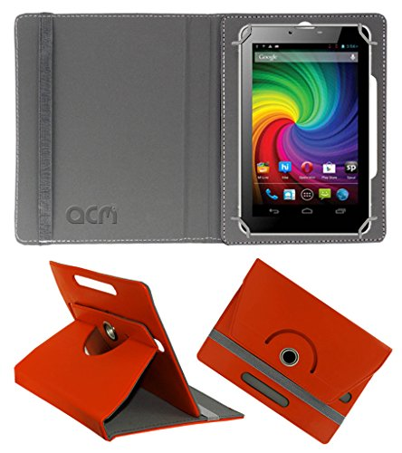 Acm Rotating 360° Leather Flip Case for Micromax Funbook P650e Cdma Cover Stand Orange  available at amazon for Rs.149