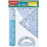 Maped 227835 - Kit trazado 4+1, regla de 30 cm, cartabón, escuadra, transportador y regla 20 cm