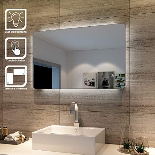 SONNI Badspiegel Lichtspiegel LED Spiegel Wandspiegel mit Sensor-Schalter 80 x 50cm kaltweiß IP44 energiesparend