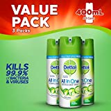 Dettol All-in-One Disinfectant Spray Spring Waterfall, 400 ml, Pack of 3