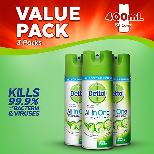 Price comparison product image Dettol All-in-One Disinfectant Spray Spring Waterfall, 400 ml, Pack of 3