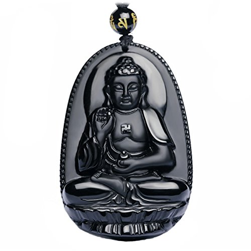 Buddha Pendant Necklace Bodhisattva Amulet / Talisman Made of Obsidian Gemstone, Bella Jade
