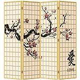 Fine asianliving divisor de espacios–Biombo plegable Protector de Sakura Blossom amor 4Panel (180x 160cm) muebles decoración del hogar impreso lienzo pantallas a doble cara doble cara Oriental asiático chino japonés estilo (lienzo) (lienzo) (lienzo)