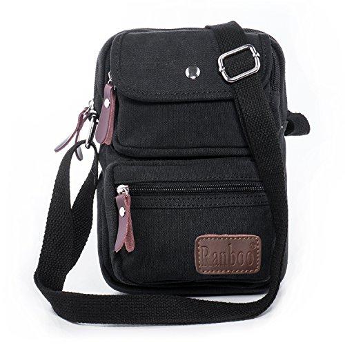 Hengwin Canvas Kleine Umhängetasche für Herren Schultertasche Messenger Bag mit 4 Reißverschluss Fächer für Reise Sport Urlaub Wandern (Schwarz) (Herren Umhänge)