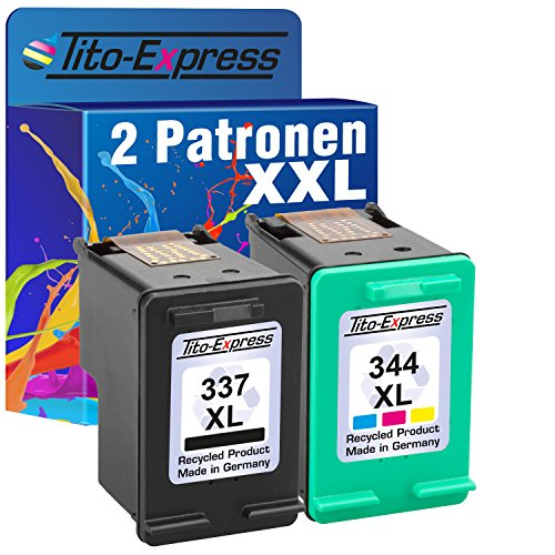 Tito-Express PlatinumSerie Set 2x Druckerpatrone für HP 337 XL HP 344 XL Officejet 100 150 Mobile H470 Pro K7100 -