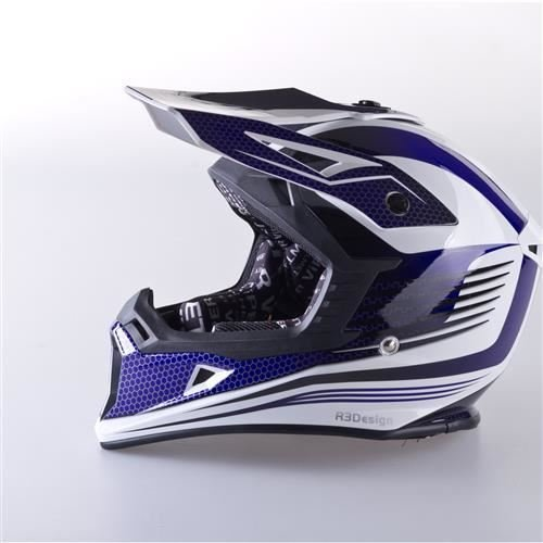 Viper RS-X95RAZR CARBON Casco Motocross Enduro MX Quad ATV Off Road Blu Colore, XS