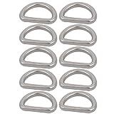 sourcing map 10 Stück 1-Zoll innere Breite Silber geschweißt 304 Edelstahl D Ring Halbringe