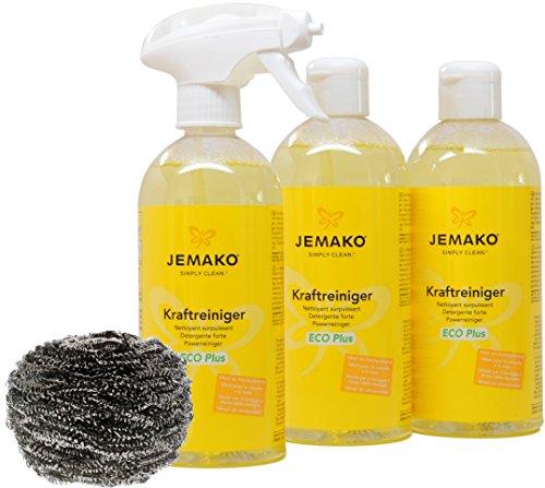 Jemako Kraftreiniger ECO Plus 1500ml inkl. Sprühpumpe, Edelstahlspirale & Sinland Microfasertuch (1500ml)