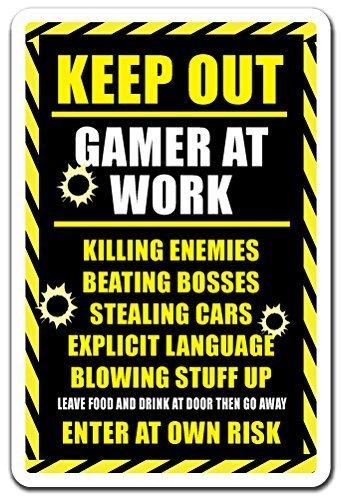 Witziges Schild Geschenk Keep Out Gamer at Work Geschenk Xbox PS3PS4Playstation Funny ACHTUNG Outdoor Metall Aluminium Schild, Dekoration (Gamer Ps3)