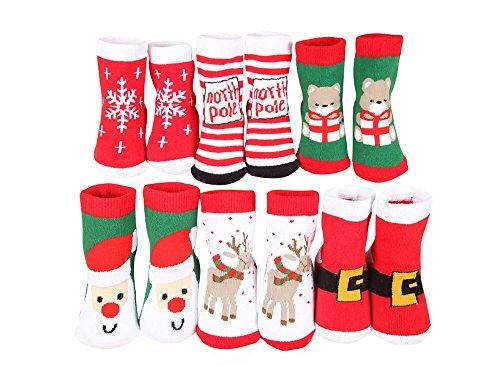 DEBAIJIA 6 Paia Natale Santa Edizione Calzini Bambino Lunghezza Spesse Calzini termici Autunno e Inverno Bambini Ragazze 0-36 mesi