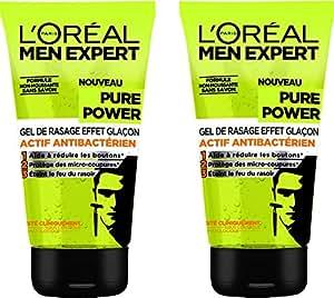 L'Oréal Men Expert Gel de Rasage Homme Visage Effet Glaçon - Lot de 2