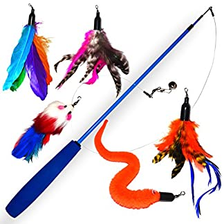 Cat teaser toy with bell and real feathers for cats & 5-set premium cat toy extendable with mouse, bell tag removable… 7