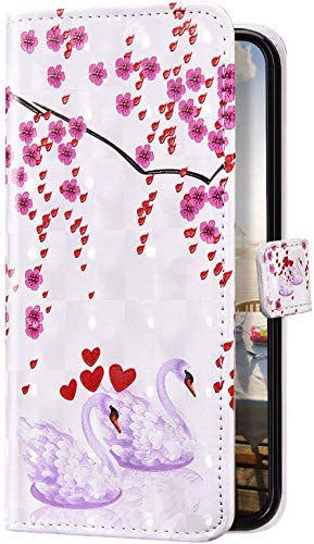Uposao Kompatibel mit Samsung Galaxy A10 Hülle Bling Glitzer 3D Bunt Marmor Muster Schutzhülle Leder Hülle Tasche Klapphülle Wallet Bookstyle Case Cover Ständer Kartenfächer,Schwan Blumen