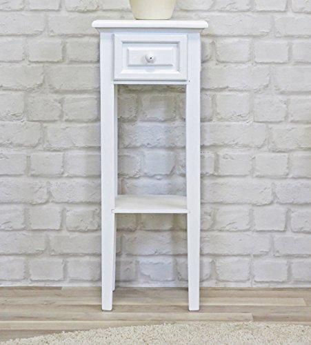 My Flair Meridian Telefontisch / Beistelltisch / Konsole antik weiß, Landhausstil mit Shabby-Chic-Look, 0821DF