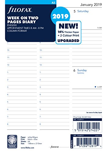 Filofax 19-68521 A5 Week On Two Pages English 2019 Diary