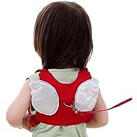 Laat–Mochila/arnés para niños de seguridad acolchada para llevar a su hijo con una cinta y que de esta manera no se caiga, con un diseño original de alas, rojo, 20x16x35